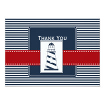 navy stripes,lighthouse nautical wedding Thank you Card
