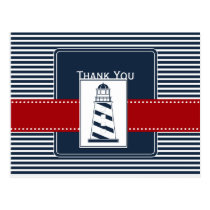 navy stripes,lighthouse nautical wedding Thank you Postcard
