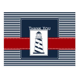 navy stripes,lighthouse nautical wedding Thank you Postcard