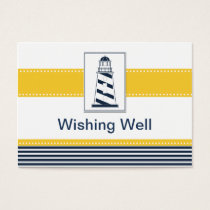 navy stripes,lighthouse, wishing well card