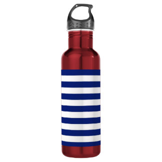 Navy Stripes Nautical Pattern Stainless Steel Water Bottle