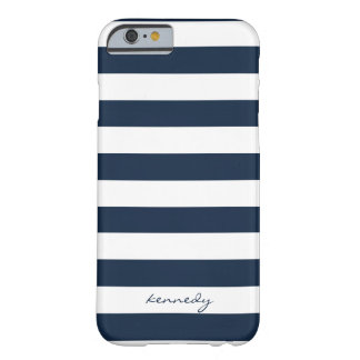 Navy Stripes Pattern Personalized iPhone 6 case