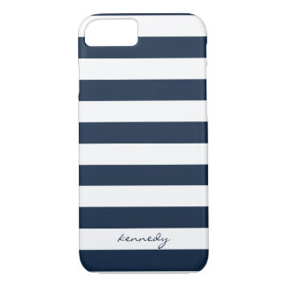 Navy Stripes Pattern Personalized iPhone 7 case