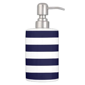 Navy Stripes Pattern Bathroom Sets