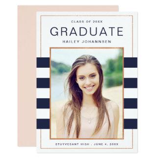 Navy Stripes Photo Graduation Announcement