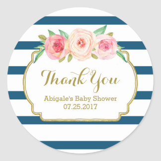 Navy Stripes Pink Floral Baby Shower Favor Tags Classic Round Sticker