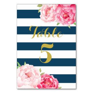 Navy Stripes Pink Floral Wedding Table Number Card