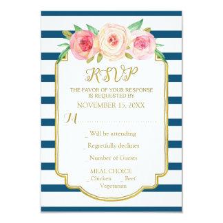 Navy Stripes Pink Flowers Gold Wedding RSVP Card