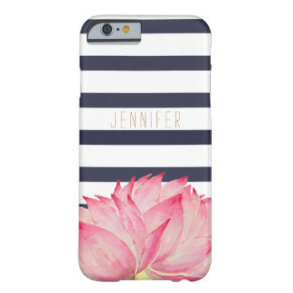 Navy Stripes & Pink Lotus Flower iPhone 6/6s Case