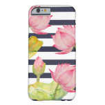 Navy Stripes & Pink Lotus Flowers iPhone 6/6s Case