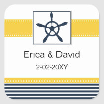 navy stripes, rudder, nautical favor stickers
