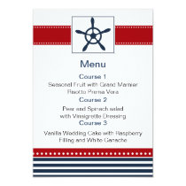 navy stripes,rudder, nautical menu cards