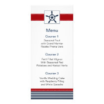 navy stripes, rudder, nautical menu cards