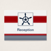 navy stripes, rudder, nautical Reception cards