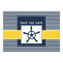 navy stripes, rudder, nautical save the date card