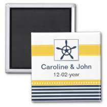 navy stripes, rudder, nautical save the date magnet