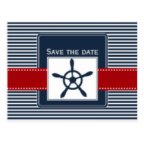 navy stripes, rudder, nautical save the date postcard