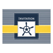 navy stripes and yellow rudder, nautical wedding invites by mgdezigns