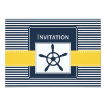 navy stripes, rudder, nautical wedding invites