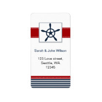 navy stripes, rudder, nautical wedding labels