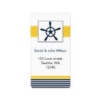 navy stripes, rudder, nautical wedding labels
