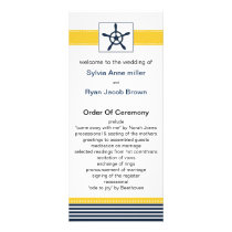navy stripes, rudder, nautical wedding programs
