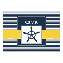 navy stripes, rudder nautical wedding rsvp 3.5 x 5 card
