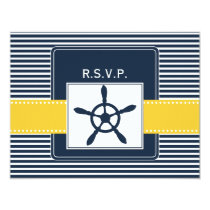 navy stripes, rudder, nautical wedding rsvp card