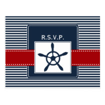 navy stripes, rudder, nautical wedding rsvp postcard