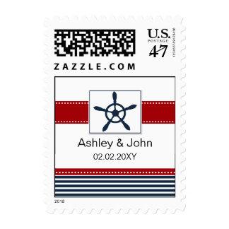 navy stripes, rudder, nautical wedding stamps