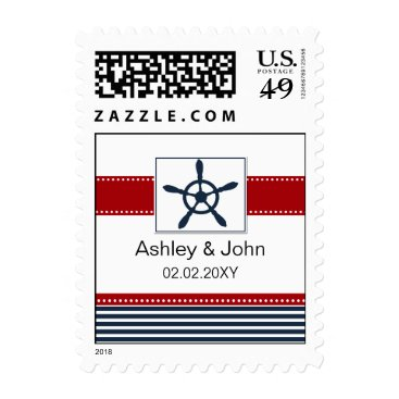 navy stripes, rudder, nautical wedding stamps