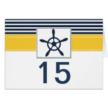 navy stripes, rudder nautical wedding table number