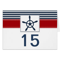 navy stripes, rudder nautical wedding table number card