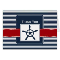 navy stripes, rudder, nautical wedding Thank you Card