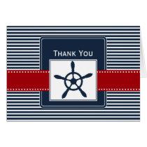 navy stripes, rudder, nautical wedding Thank you Card
