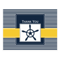 navy stripes,rudder, nautical wedding Thank you Postcard