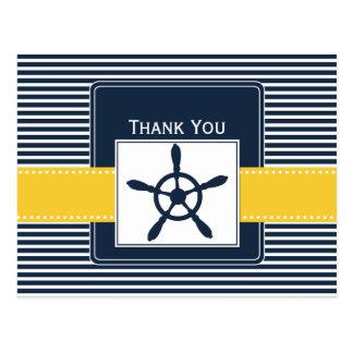 navy stripes,rudder, nautical wedding Thank you Postcard
