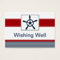 navy stripes, rudder, nautical wishing well card