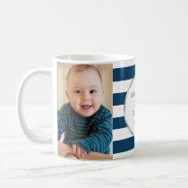 Navy Stripes Silver Photo Best Grandpa Christmas Coffee Mug