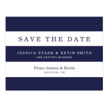 Navy Stripes Wedding Save the Date Postcard