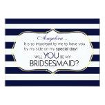 Navy Stripes Will You Be My Bridesmaid Invitation