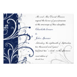 navy stylish wedding invitation