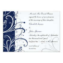 navy stylish wedding invitation