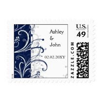 navy stylish wedding postage