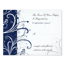 navy stylish wedding  rsvp card