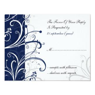 navy stylish wedding  rsvp card