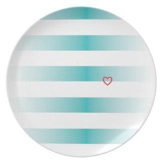 Navy Summer Stripes Plate