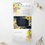 NAVY SUNFLOWER EUCALYPTUS WATERCOLOR FLORA WEDDING Tri-Fold INVITATION