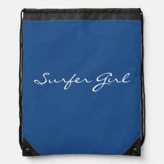 Navy Surfer Girl Drawstring Backpack