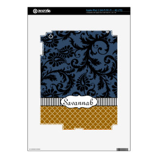 Navy Tan Black Damask Personalized iPad Skin